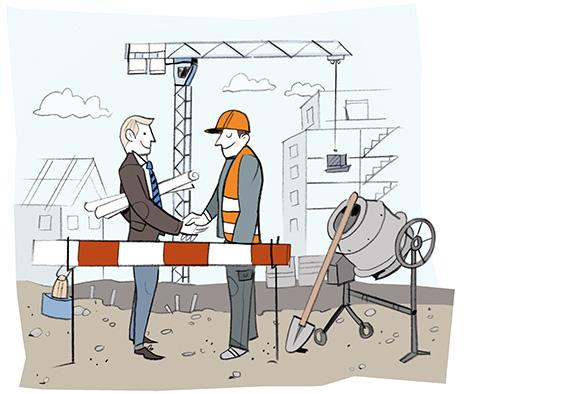 Personen auf der Baustelle