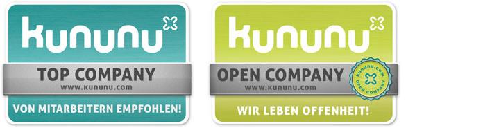 Kununu Auszeichnungen Top Company und Open Company
